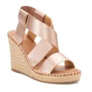 SO Halibut Rose Gold Wedge Sandals NWT